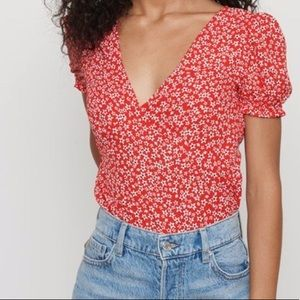 DYNAMITE Red Floral Short Sleeve Empire Waist